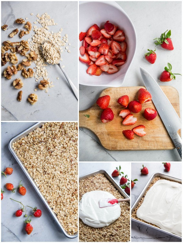 Strawberry Oatmeal Cookie Bars • theVintageMixer.com #seasonalrecipe #eatseasonal #strawberries #glutenfreedessert