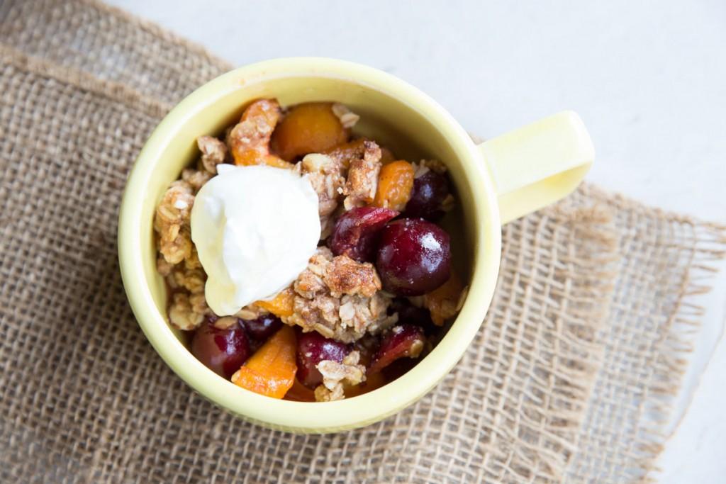 Apricot and Cherry Breakfast Crisp | Vintage Mixer