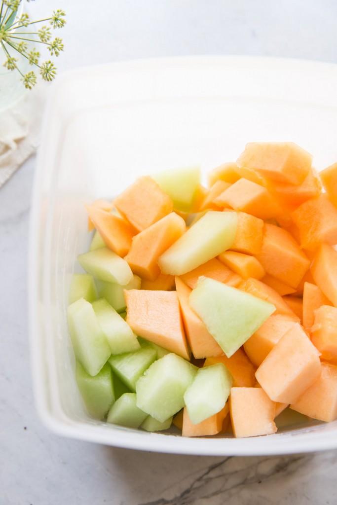 Melon Rainbow Sherbet Recipe •theVintageMixer.com #sherbet #healthydessert #melons