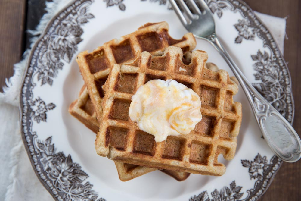Pumpkin Yogurt Waffle Recipe • theVintageMixer.com #pumpkinrecipe #waffles