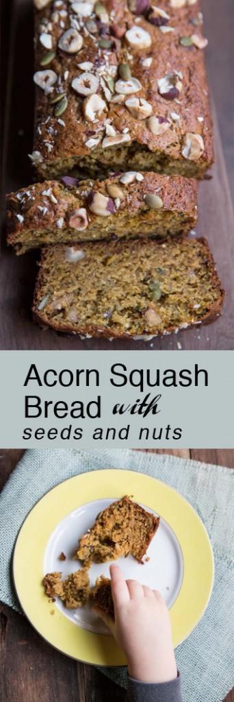 Acorn Squash Bread with Seeds and Nuts •theVintageMixer.com #breadrecipe #acornsquash #squashbread