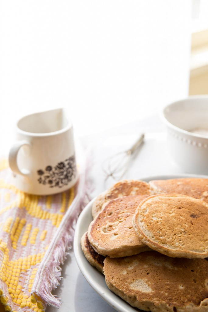 Carrot Cake Pancake Recipe with Whipped Ricotta Cream • theVintageMixer.com #breakfast #pancakes #carrotcake