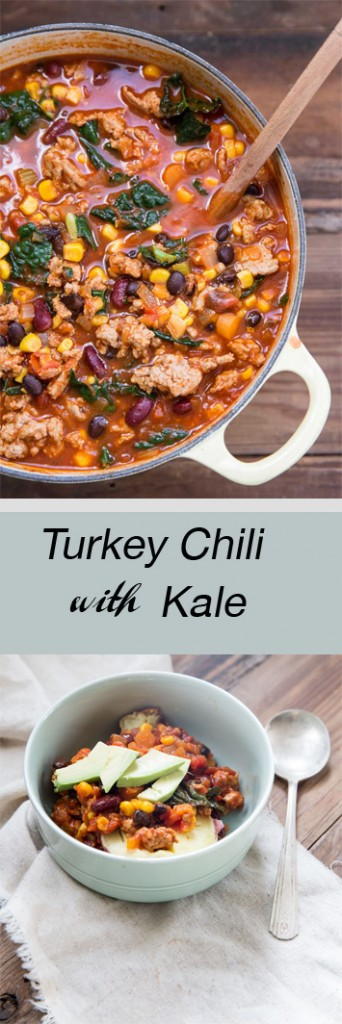 Healthy Turkey Chili with Kale Recipe • theVintageMixer.com #chili #turkeychili #kale #healthyrecipe