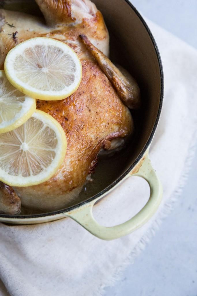 Easy Coconut Milk and Lemon Roasted Chicken Recipe • theVintageMixer.com #milkchicken #coconutmilkrecipe #roastedchickenrecipe #glutenfree #dairyfree