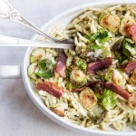 Pesto Pasta with Crispy Brussels Sprouts and Bacon