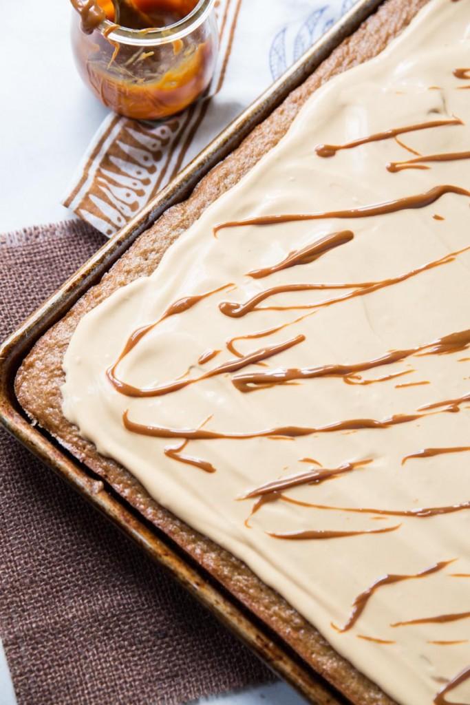 Chestnut Sheet Cake with Dulce de Leche Cream •theVintageMixer.com #sheetcake #chestnuts #delcedeleche