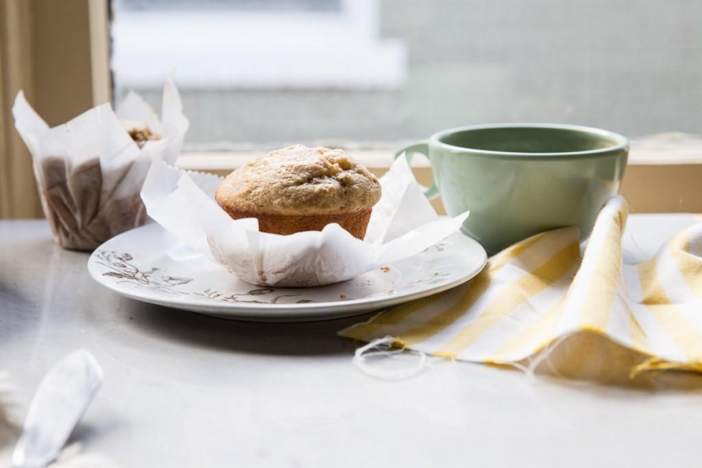 Date and Walnut Banana Muffins • theVintageMixer.com #muffins #healthybreakfast #bakerymuffins