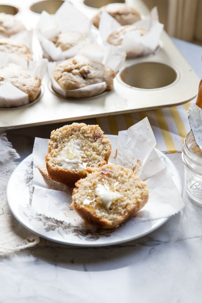 Bakery-Style Date and Walnut Banana Muffin Recipe •theVintageMixer.com #muffinrecipe #bakerystylemuffin #healthymuffin #bananamuffin