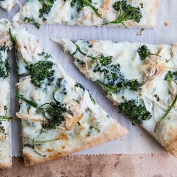 Broccoli Rabe and Chicken Pizza with Basil Cream Sauce •theVintageMixer.com #eatseasonal #pizzarecipe #chickenrecipe