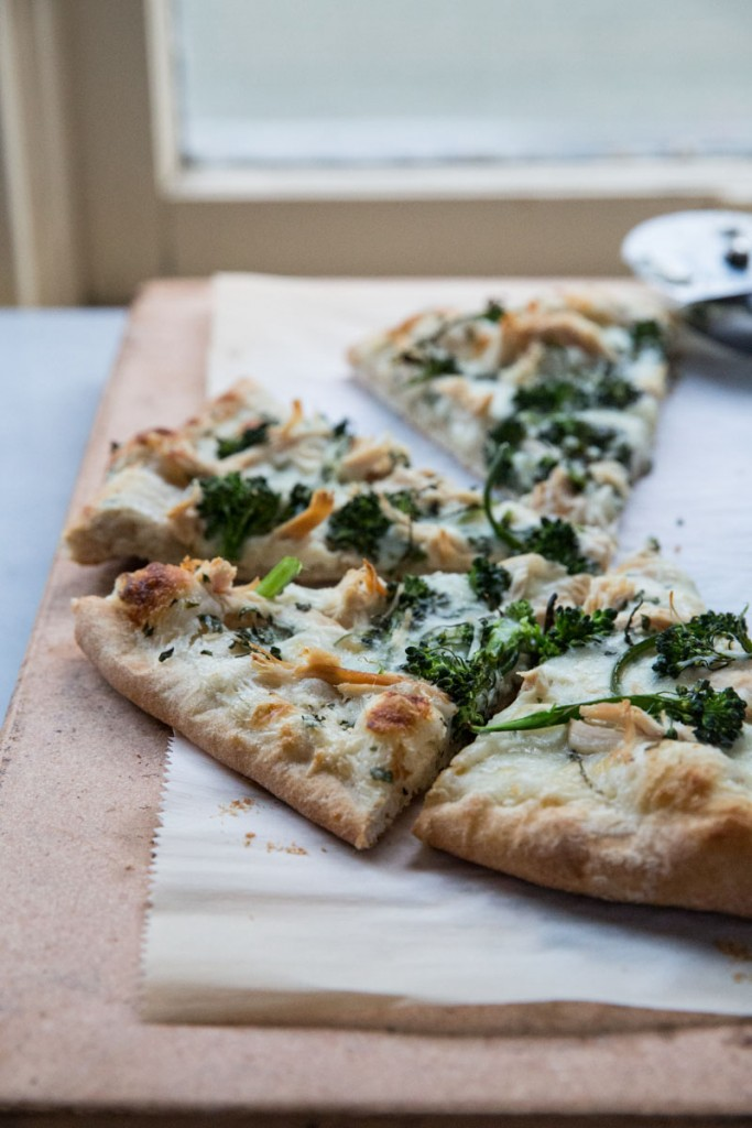 Broccoli Rabe and Chicken Pizza with Basil Cream Sauce • theVintageMixer.com #eatseasonal #pizzarecipe #chickenrecipe