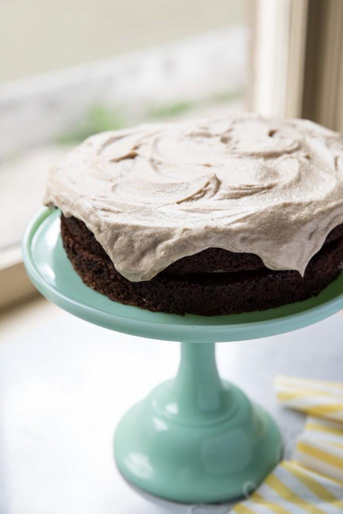 Chocolate Carrot Cake with Salted Caramel Frosting • theVintageMixer.com #carrotcake #saltedcaramel #easterrecipe #cakerecipe