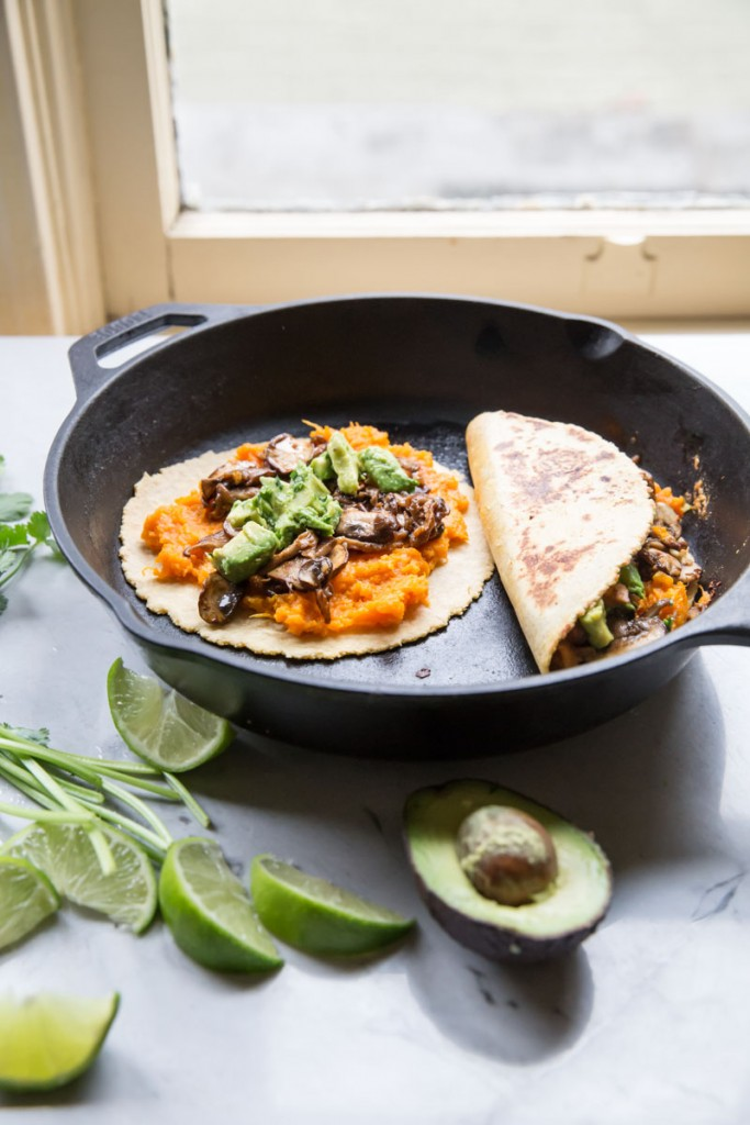 Vegan and Gluten Free Sweet Potato Mushroom and Avocado Quesadillas • theVintageMixer.com #vegan #glutenfree #quesadillas
