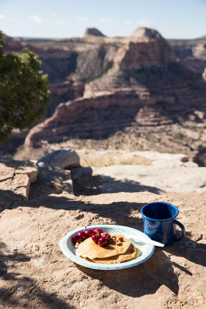 Hearty pancakes made easy for your next camping trip.