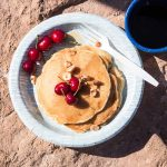 Camping Pancakes loaded with fruit, nuts and oats.