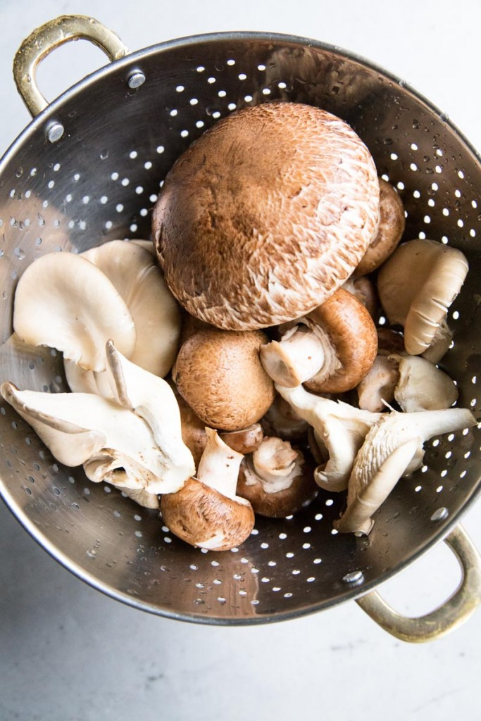 An assortment of fresh mushrooms for Vegan Sloppy Joes