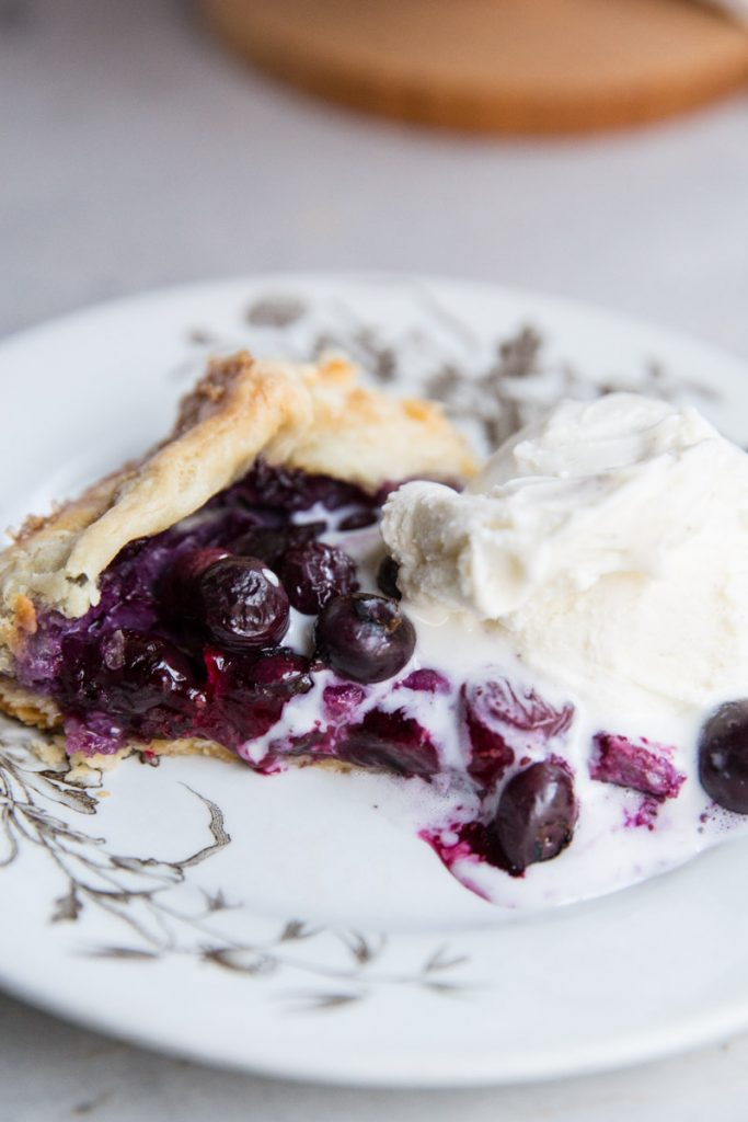 Top off this easy Blueberry Galette (or freeform pie) with a scoop of vanilla ice cream for a perfect Summer dessert.