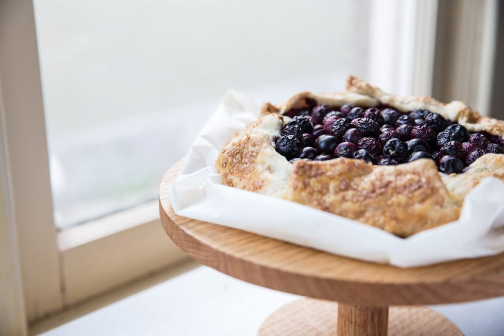 Galettes are way easier to make than pies. This is filled with a frangipane almond filling that you can make in a blender and topped with blueberries.