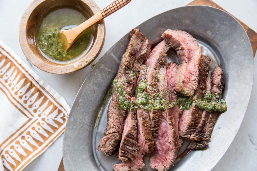 This no-fail, simple recipe for flank steak served with chimichurri is always a favorite at our house.