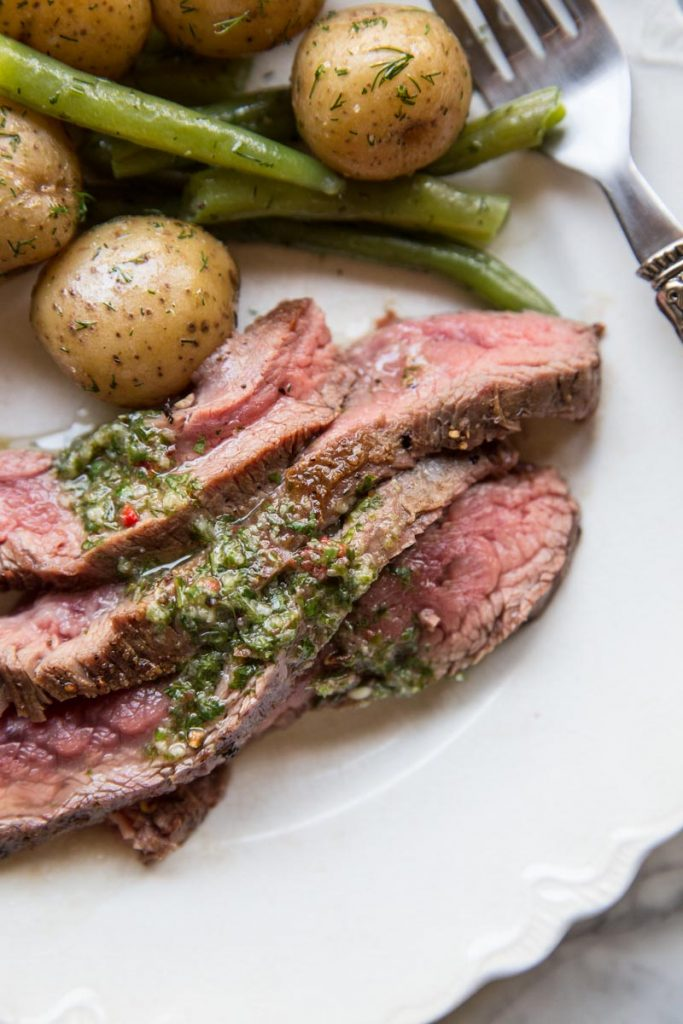 Everyone loves this simple recipe for Flank Steak with Chimichurri.