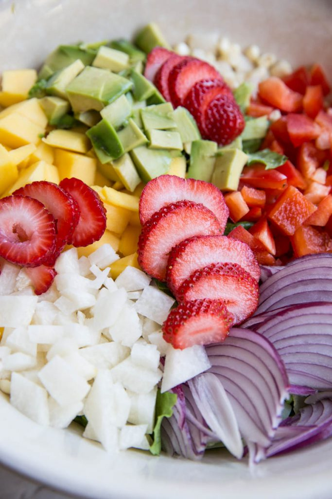 You MUST try this Summer Chopped Salad with Strawberry Lime Dressing. I eat this all Summer long!