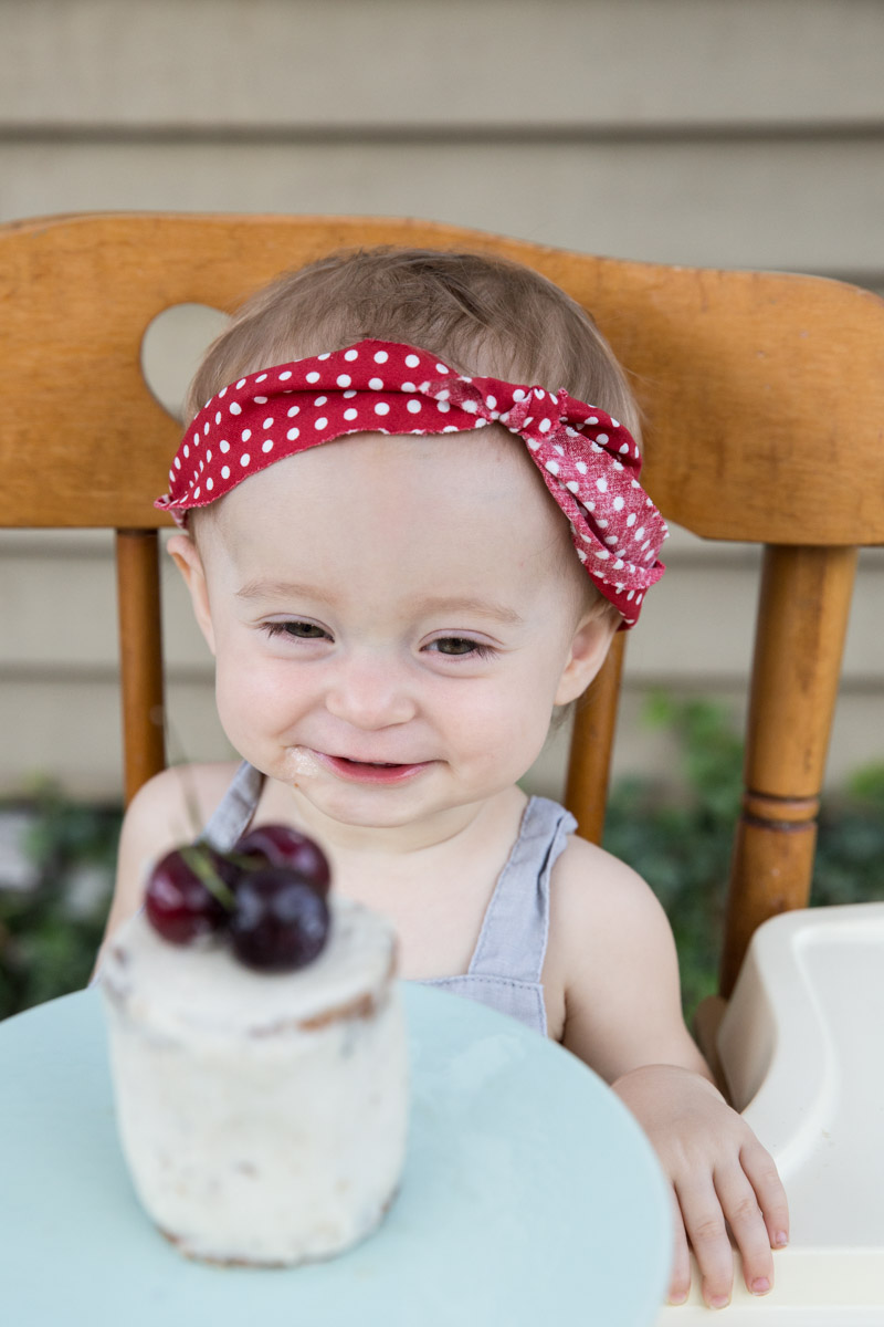 Our baby loved this first birthday cake! It's a cherry cake that is gluten free and sugar free.