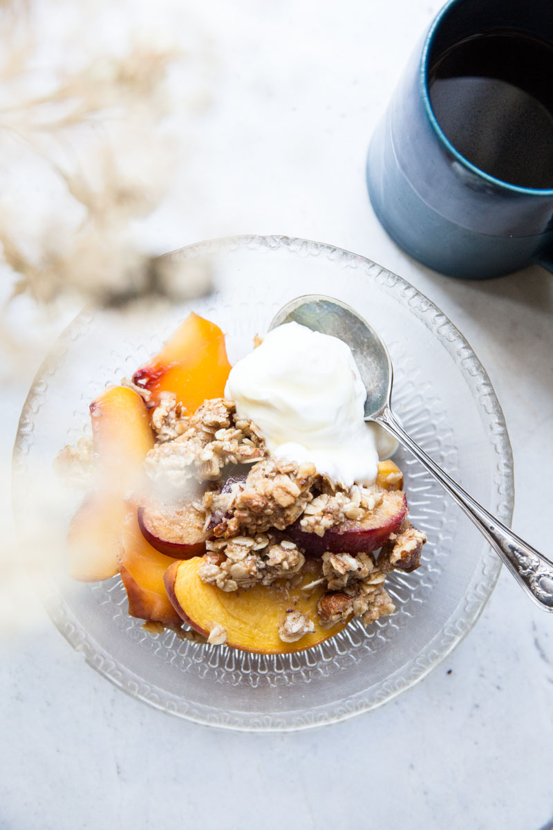 Top this Peach Crisp with Greek Yogurt for a perfectly healthy and delicious breakfast.
