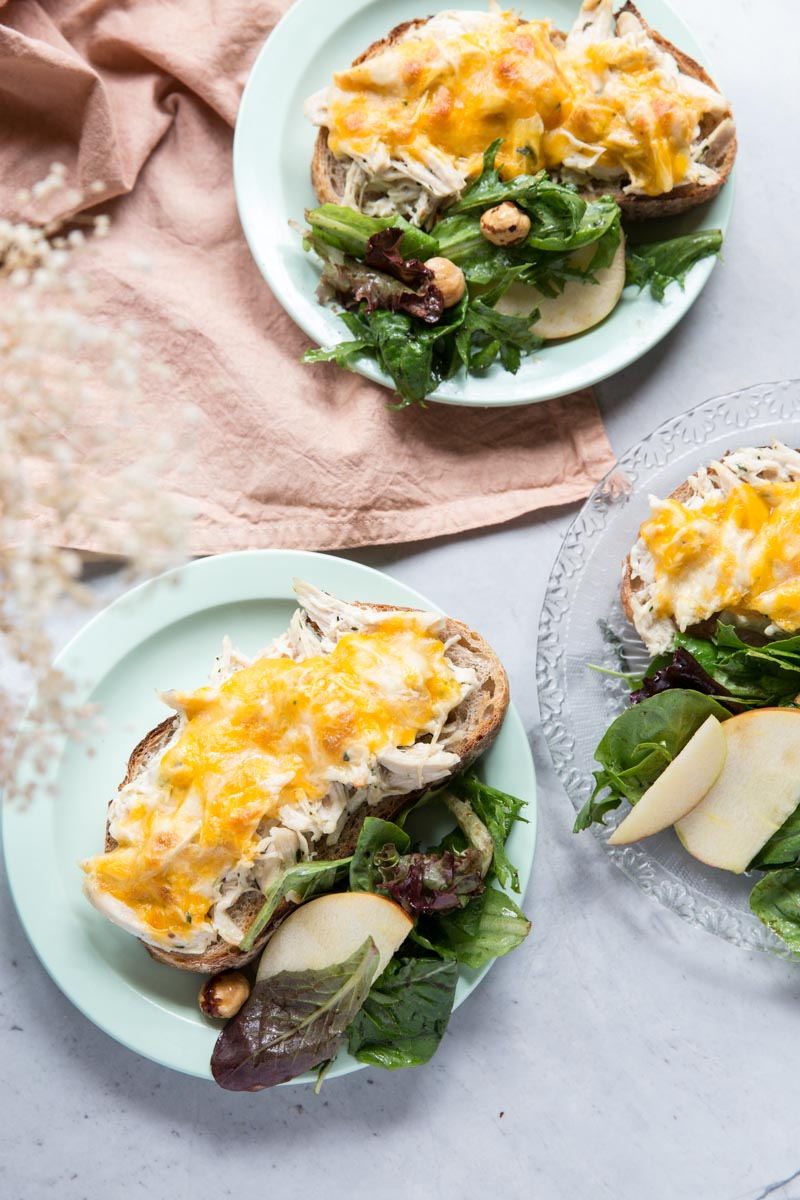 Serve these Herbed Chicken Salad Melts alongside a simple salad for a perfect easy dinner recipe.