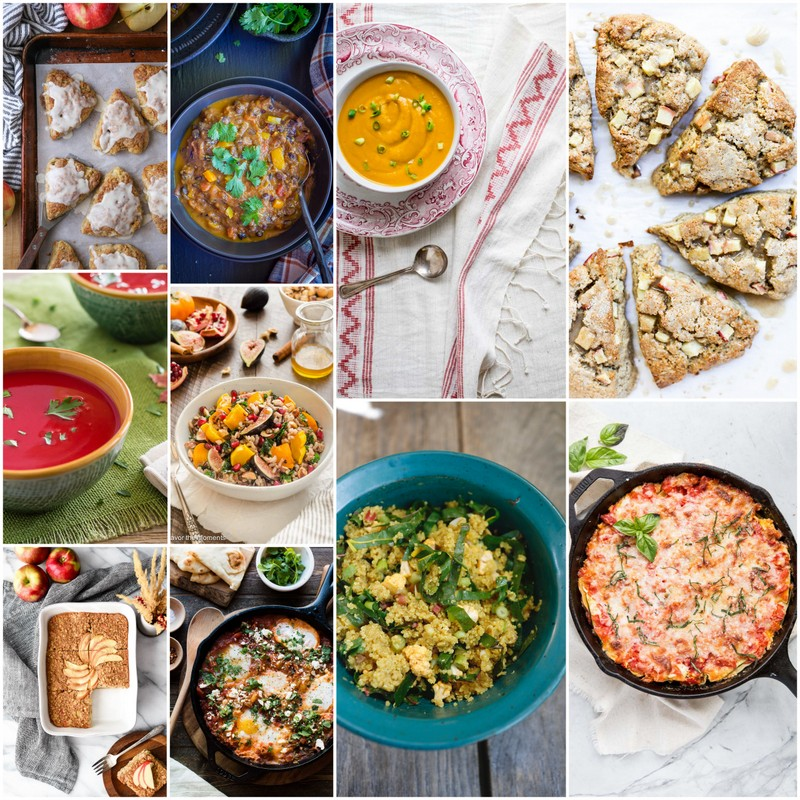 Here's a great list of seasonal and healthy recipes using Fall ingredients.