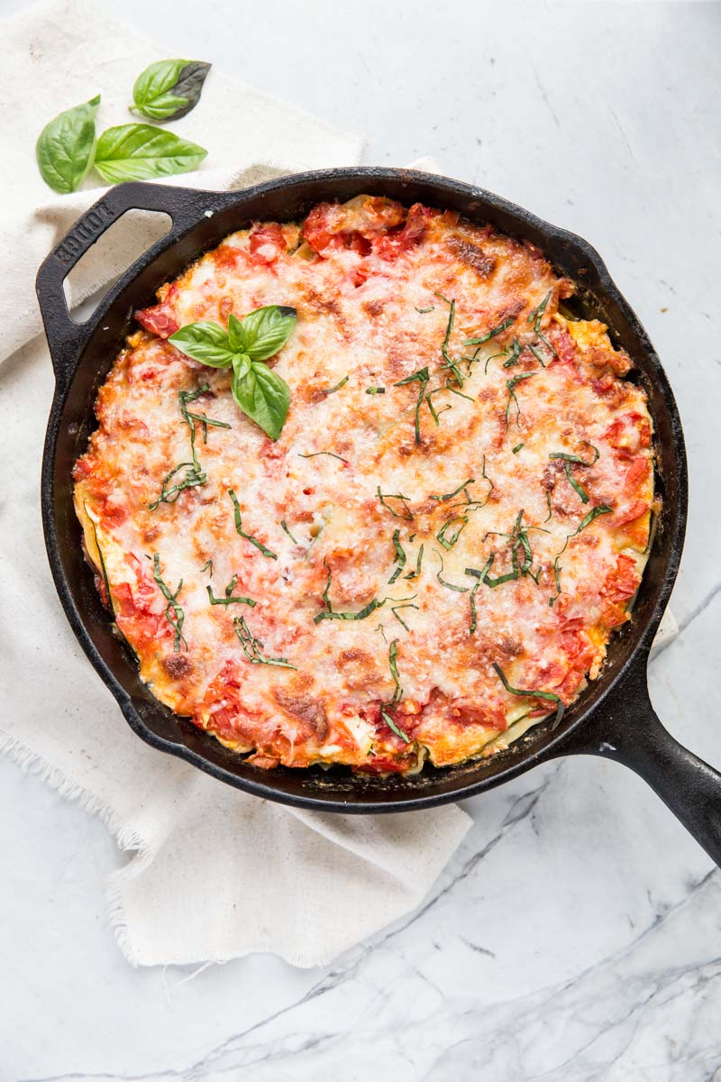 My whole family loves this gluten free, one skillet lasagna recipe using zucchini noodles.