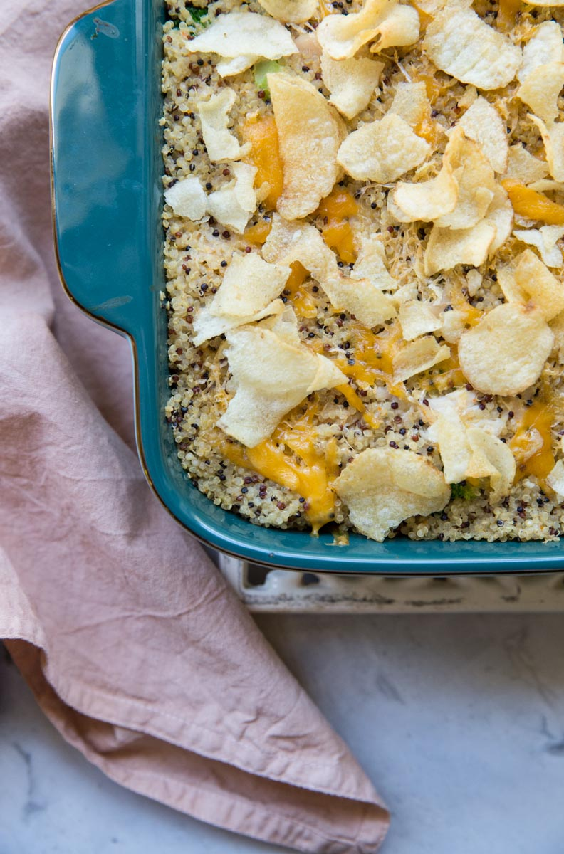 You really can't go wrong here - Cheesy Chicken and Broccoli Casserole with Quinoa.