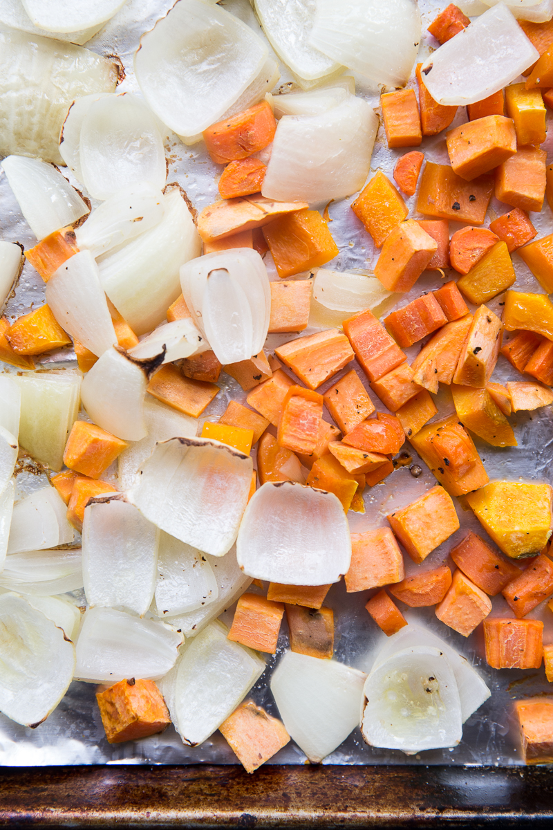 Adding some pureed roasted veggies to soup makes a gluten free and dairy free soup creamy and hearty!