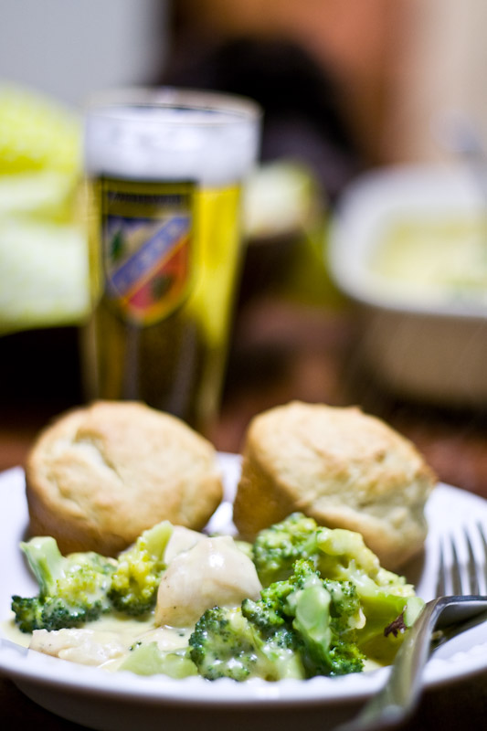 Beer and Cheese Chicken and Biscuits recipe