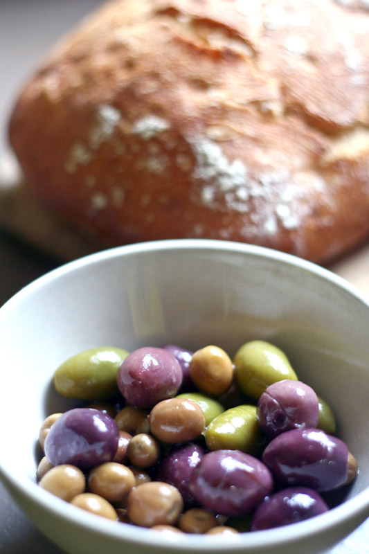 olives and ciabatta bread