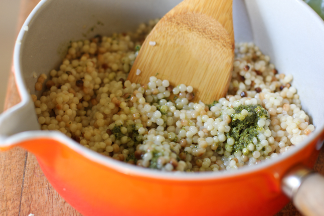 Israeli Couscous Recipe With Pesto And Spring Vegetables Vintage Mixer
