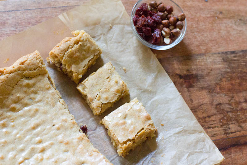 Brown Butter Bar recipe with dried cherries and toasted hazelnuts