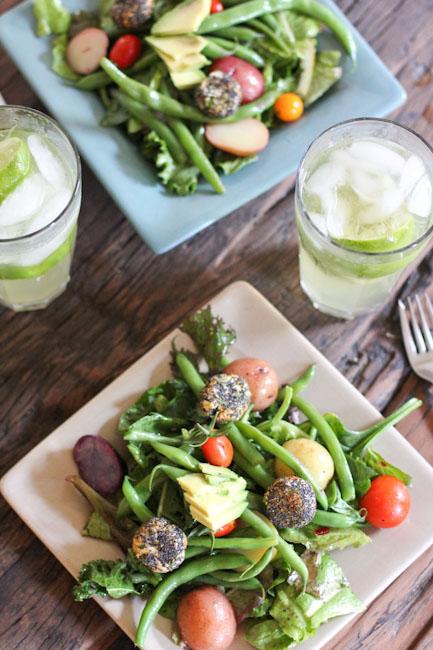 Farmers Market Salad with green beans, tomatoes, potatoes, avocado
