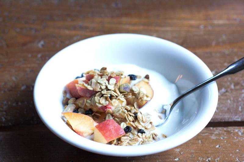 Blueberry Pistachio Granola Recipe with Fresh Peaches and yogurt