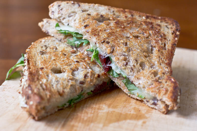 Grilled Cheese Recipe with dried cherries arugula and hazelnut butter