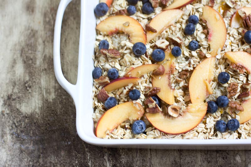baked breakfast quinoa recipe with peaches and blueberries