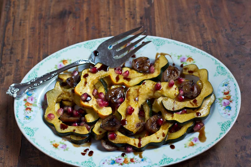 Roasted Squash and Chestnuts with Pomegranate Maple Balsamic Sauce