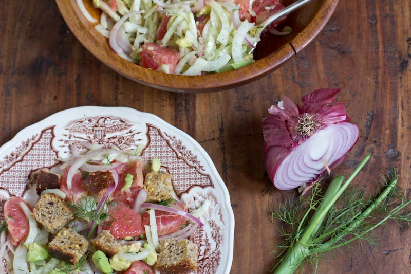 Panzanella Salad with Grapefruit Fennel and Avocado