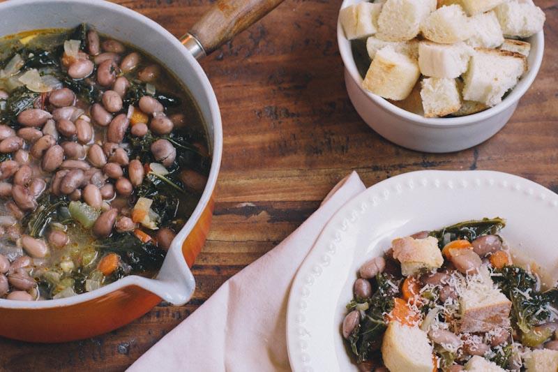 Tuscan Bread and Bean Soup Recipe • theVintageMixer.com