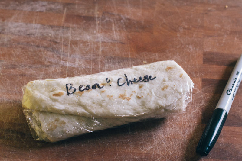 Frozen Bean and Cheese Burritos
