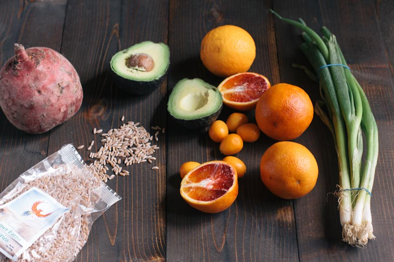 Farro Salad Recipe with Blood Oranges, Kumquats, and Avocado