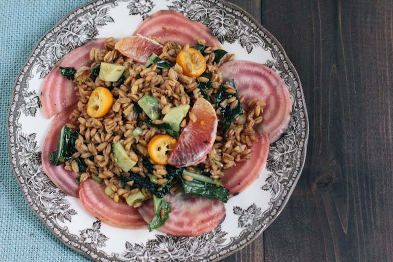 Farro Salad with kumquats blood oranges and beets