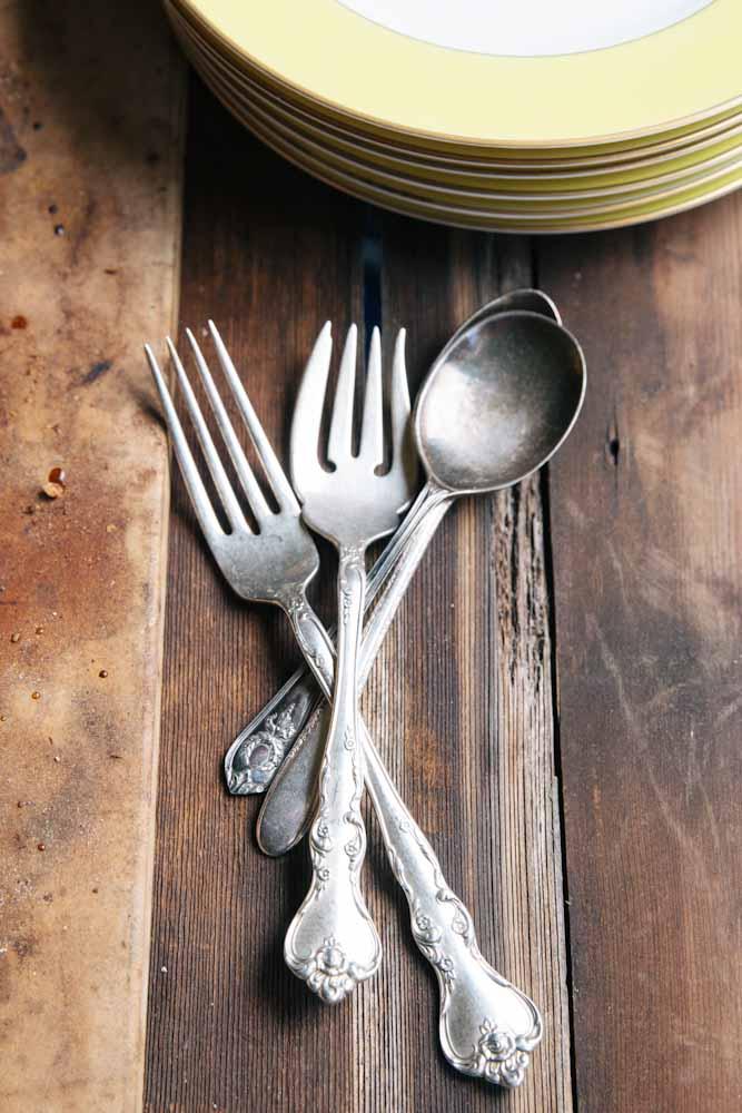Vintage Silverware and Cherry Hazelnut Galette