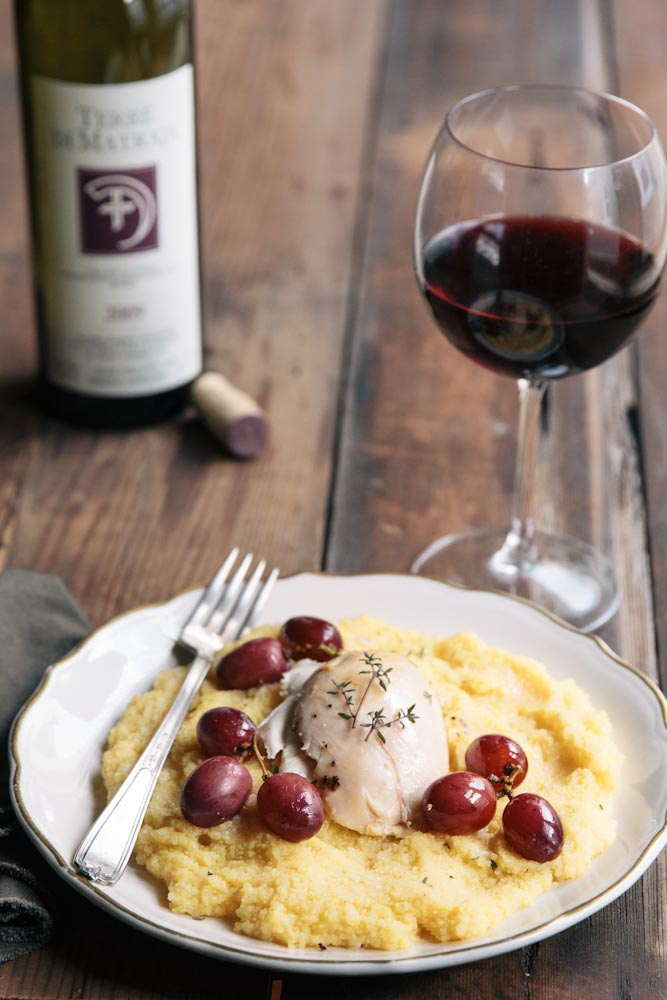Roasted Chicken with Grapes over Polenta