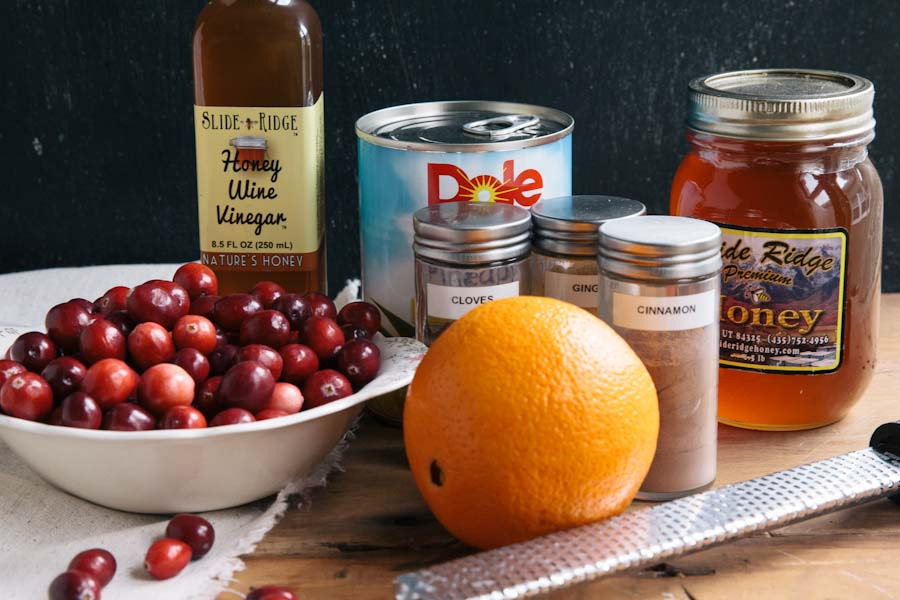 Sugar free Cranberry Sauce Recipe with Slide Ridge Honey • theVintageMixer.com
