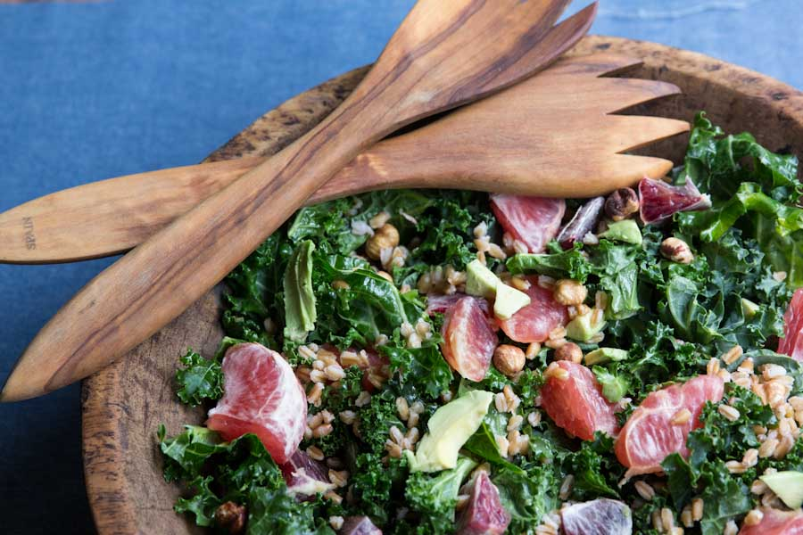 Winter Citrus and Avocado Kale Salad