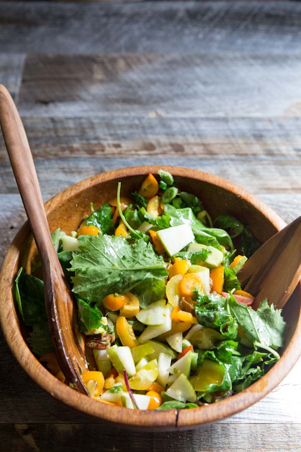 Chopped Salad Recipe with tomatoes, avocado, pear, and kumquats